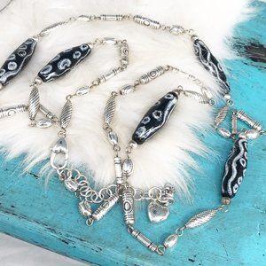 Brighton Hiba Kenya Kazuri Bead Silver Pl Necklace
